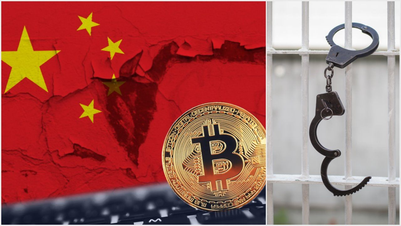 China, bitcoin, handcuffs