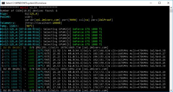New miniZ v1.5t Nvidia CUDA Miner with Better Performance and Stability
