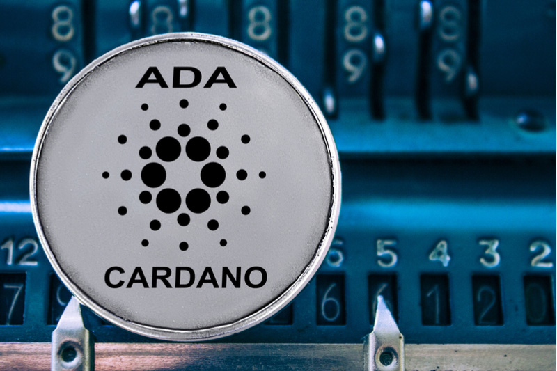 Picture of a Cardano coin with ADA and Cardano written on it