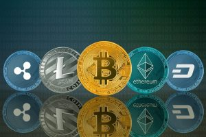 Picture of five crypto coins lined up